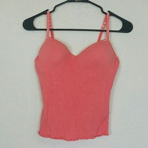 One step up crop tank with built-in bra